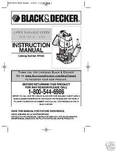 Black & Decker Router Instruction Manual # RP250