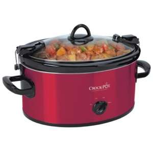 Crock Pot Slow Cooker Cooking 6 Qt Stainless Steel Red