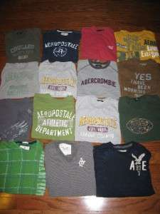 LOT 15 MENS NOVELTY T SHIRTS GRAPHIC TEES ABERCROMBIE AMERICAN EAGLE