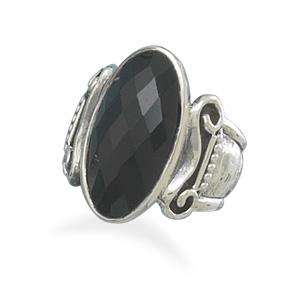 Fancy Faceted Oval Black Onyx Ring Oxidized Column Design 925 Sterling