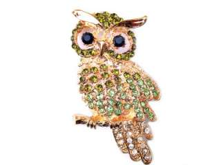 Peridot Green SWAROVSKI CRYSTAL BIRD OWL PIN BROOCH