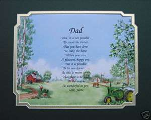 PERSONALIZED DAD POEM BIRTHDAY, FATHERS DAY OR CHRISTMAS GIFT JOHN