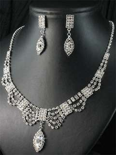 Bridesmaids Diamante Clear Crystal Necklace Earrings Set Prom 165