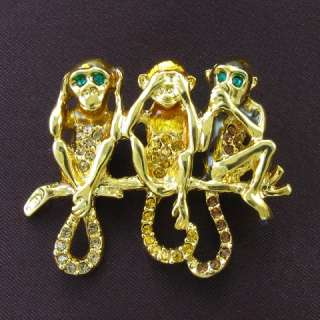 Monkey Animal Brown Stone Crystal Fashion Brooch Pin Gold Tone