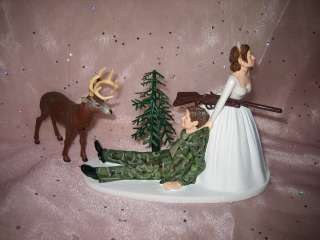 HUMOROUS WEDDING CAMO BUCK DEER HUNTER HUNTING CAKE TOPPER