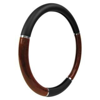 Black Wood Chrome Steering Wheel Cover 15.8x15.8x3 product details