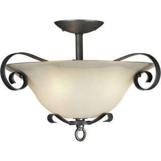 Forte Lighting Three Light Semi Flush Mount with Umber