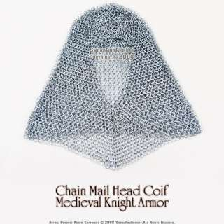Chain Mail Coif Medieval Knight Armor 8mm Butted Rings