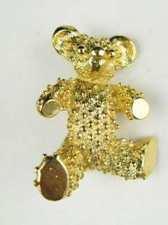Vintage Jewelry Gerrys Gold Plated Ornate Spotted Teddy Bear Pin