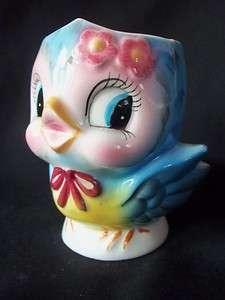 retro bluebird blue bird piggy ceramic coin bank figurine