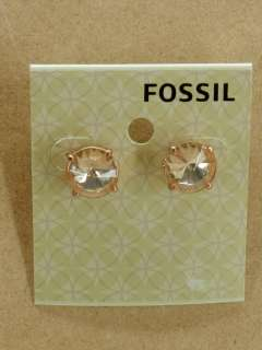 NEW FOSSIL RIVOLI SILK COPPER EARRINGS PEACH CRYSTALS ROSE GOLD TONE