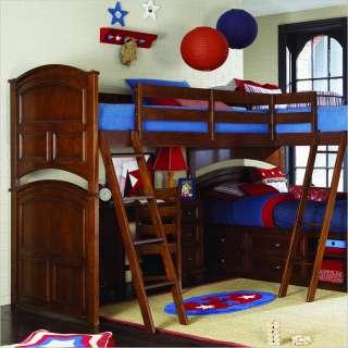 Not Available   Lea Deer Run Wood Loft Triple Bunk Bed in Brown Cherry