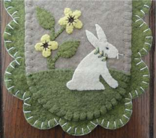 Bunny Rabbit Penny Rug~Table Runner~Easter~Folk Art Candle Mat