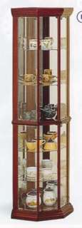 Cherry Finish Solid Wood Corner Curio Glass Cabinet New