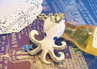 fashion gold plated white octopus crown crystal necklace