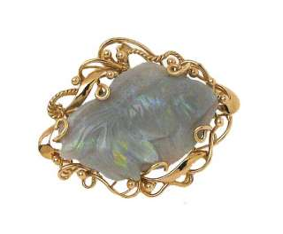 14K GOLD & HAND CARVED OPAL BETTA FISH PIN PENDANT