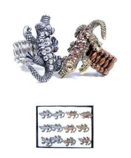 Alligator Rhinestone Stretch Ring crocodile silver gold