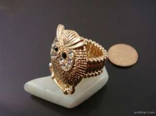 New Amazing Gold color Cute Owl Stretch Ring