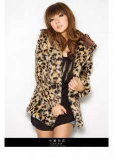 Sexy Leopard Print Faux Fur Coat Hoodie Jacket Hooded Outerwear cape S