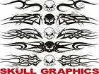 SKULL Windshield Decal Sticker Graphics Tribal Flame