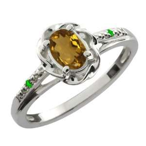 Ct Oval Whiskey Quartz Green Tsavorite Sterling Silver Ring Jewelry