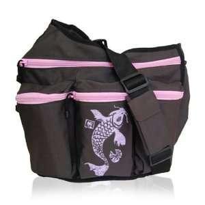 Diaper Diva Messenger Diaper Bag in Brown & Pink Koi Baby