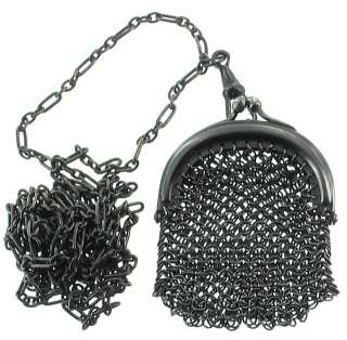 ANTIQUE BERLIN IRON BLACK METAL MESH PURSE WATCH CHAIN FOB CHATELAINE