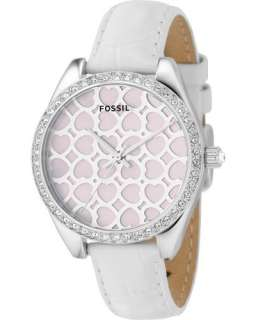 Ladies FOSSIL Analog MOP Dial Crystals Watch