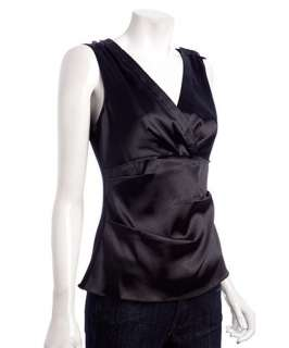 Tahari black sateen Easton v neck sleeveless blouse