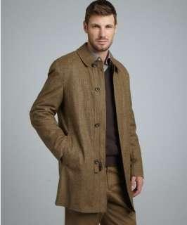 Hickey Freeman light brown tweed wool blend Storm System car coat