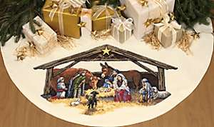 Stitch kit 45 Tree Skirt ~ NATIVITY SCENE 08814 088677088149