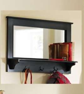 Entryway wooden wall mirror shelf and coat rack black 35 new for Hallway mirror and shelf