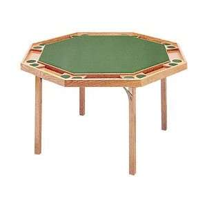 Octagon Poker Table with Natural Finish & Green Vinyl Top