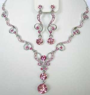 n318 Pink Swarovski Crystal Necklace Heart Love Set