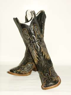 275 Womens Corral Black Western Boot with Silver Cross and Wing